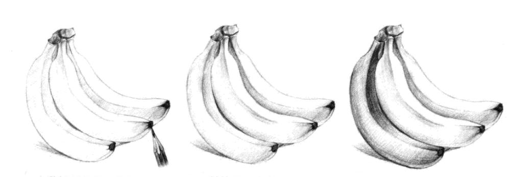 立体素描水果画法步骤